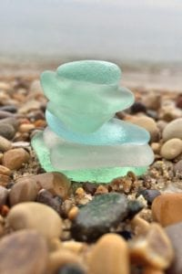 Sea glass found while beachcombing in Maine.